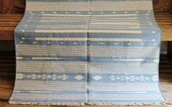 Soft Blue & Cream Fine Striped Dhurrie - <b>sold<b>